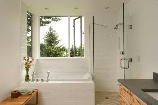 Douche et baignoire dans petite salle de bain